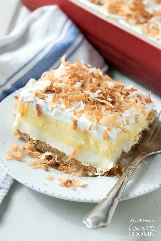 No Bake Coconut Cream Layered Dessert
