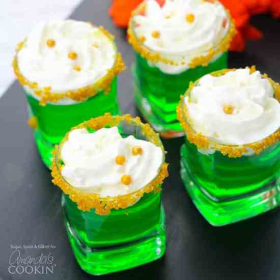 Image result for Green Jello Shots with Gold sugar crystals