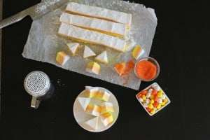 homemade marshmallows, candy corn dessert, halloween dessert, easy dessert
