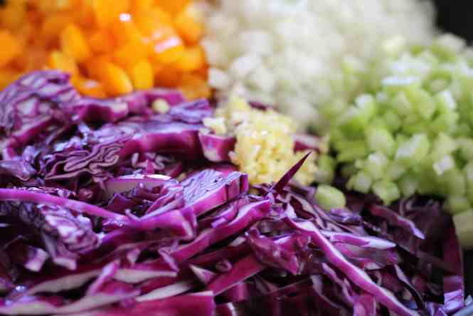 vegetables, red cabbage saute