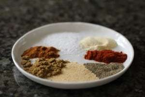 spices, spices in white dish, spices for beef and bean chili, chili spices
