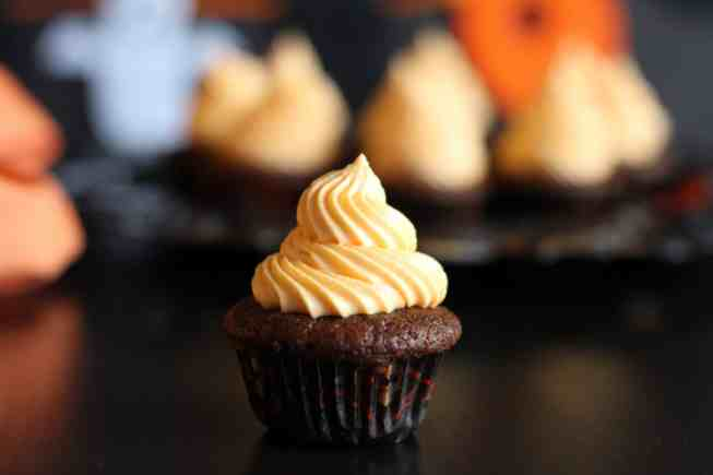 chocolate cupcakes, pumpkin and chocolate