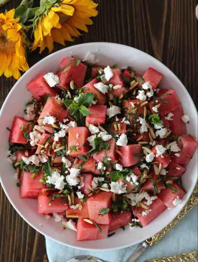 watermelon, feta, jalapeno salad