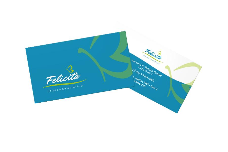 Cartão de visita impresso em couchê 300g - Felicitá clínica de estética
