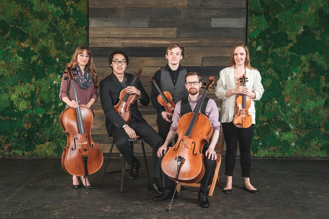 5 people holding string instruments