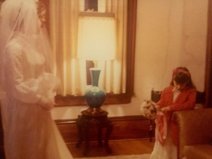 I'm one sad little girl on my sister's wedding day.