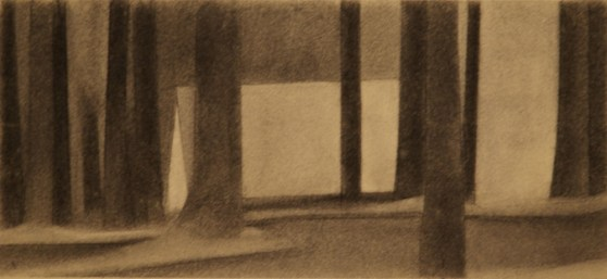 """charcoal on paper, 8""""x 20"""", 2012"""