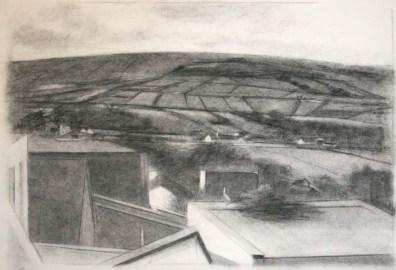 Ballycastle Ireland, charcoal on paper, 2010