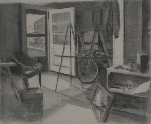 """""""G-ma's Basement,"""" charcoal on paper, 18""""x 24"""", 2010"""