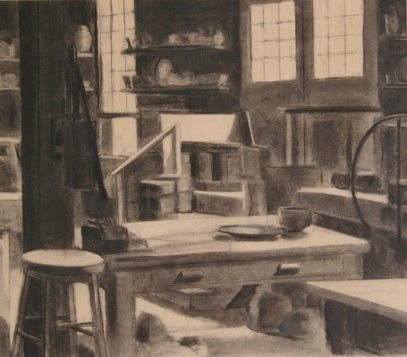 """""""The Pottery,"""" charcoal on paper, 18""""x 24"""", 2010"""