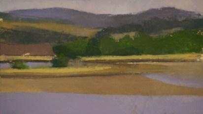 """""""Salmon River Estuary, Oregon: April,"""" oil on paper, 4""""x 7"""", 2012"""