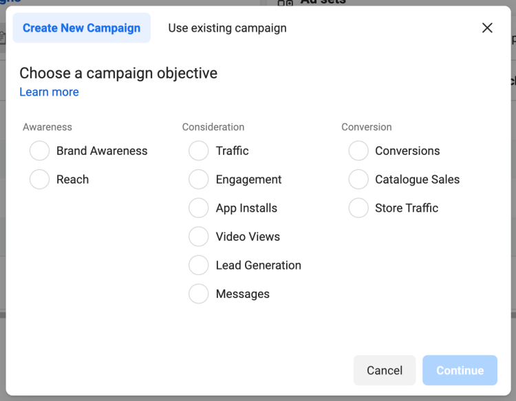 Examples of Facebook campaign objectives