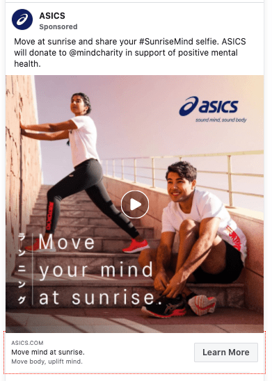 Asics example of Facebook Advertising.