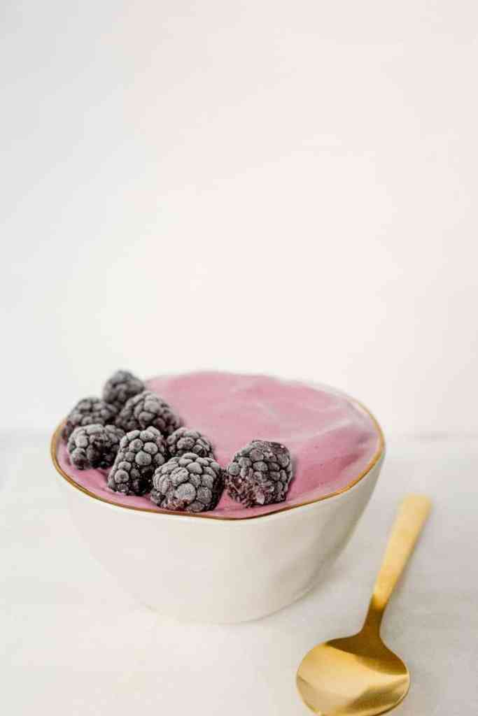 berry smoothie bowl low angle