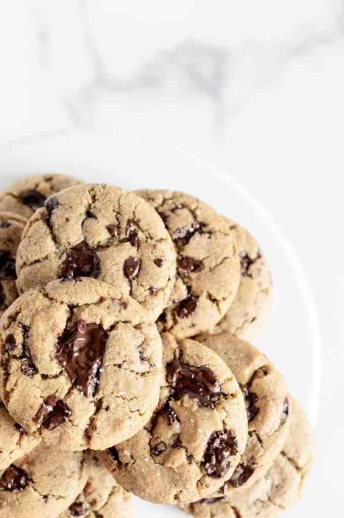 off center shot of brown butter cookies