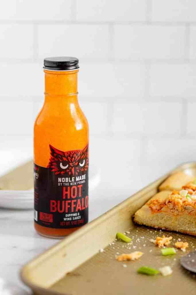 Close up of buffalo chicken pizza