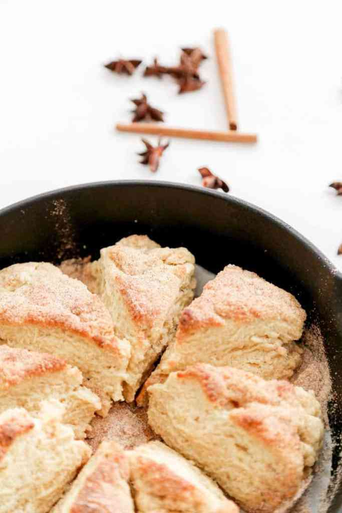 chai infused scones in a cast iron pan close up