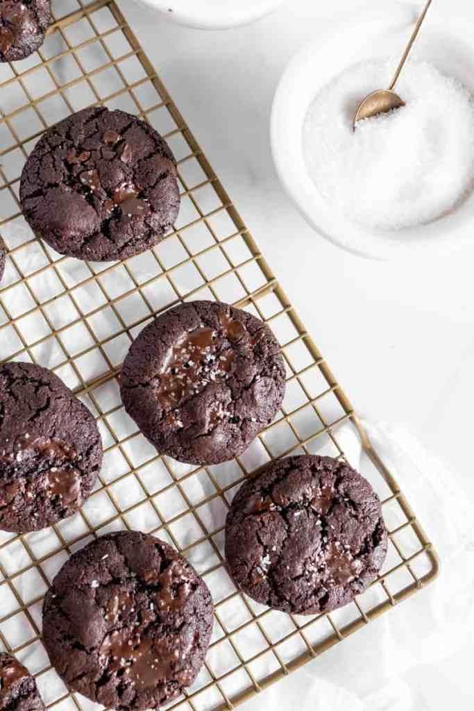 cookies next to a salt dish