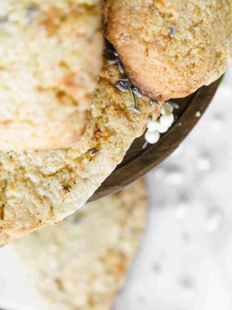 lavender white chocolate scones close up