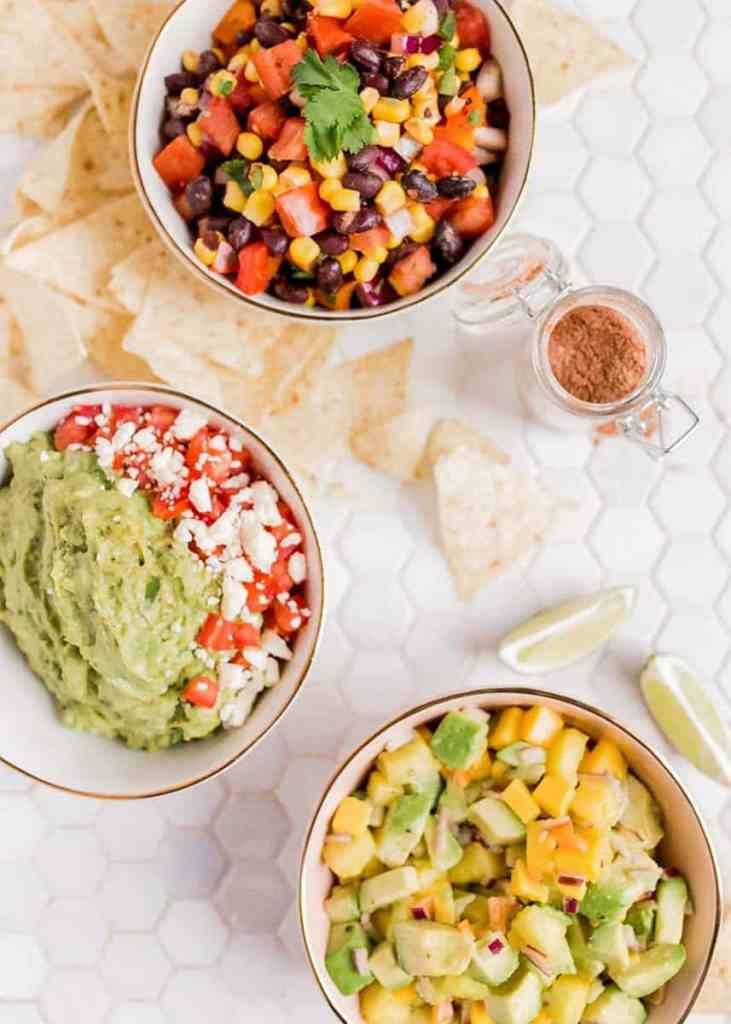 guacamole, mango salsa, black bean salsa