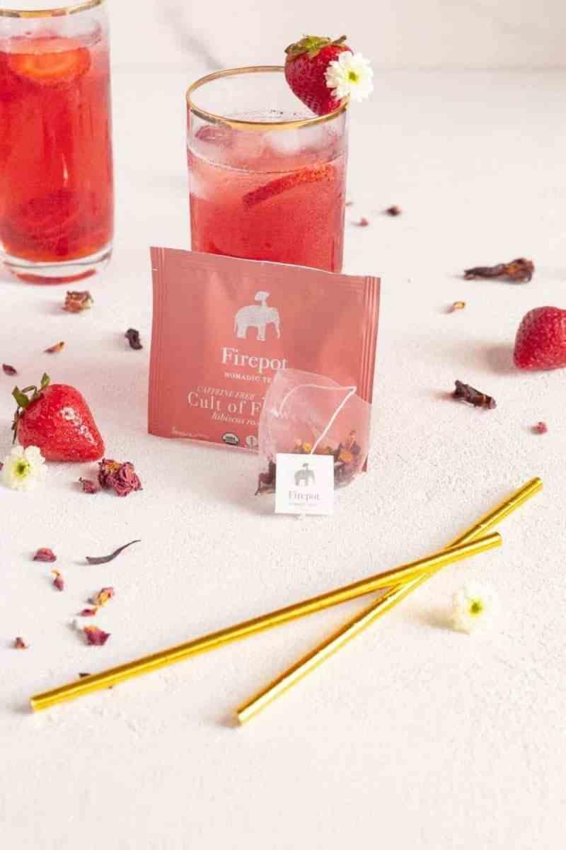 Overhead shot of the strawberry iced tea