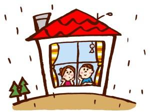 雨の日の家
