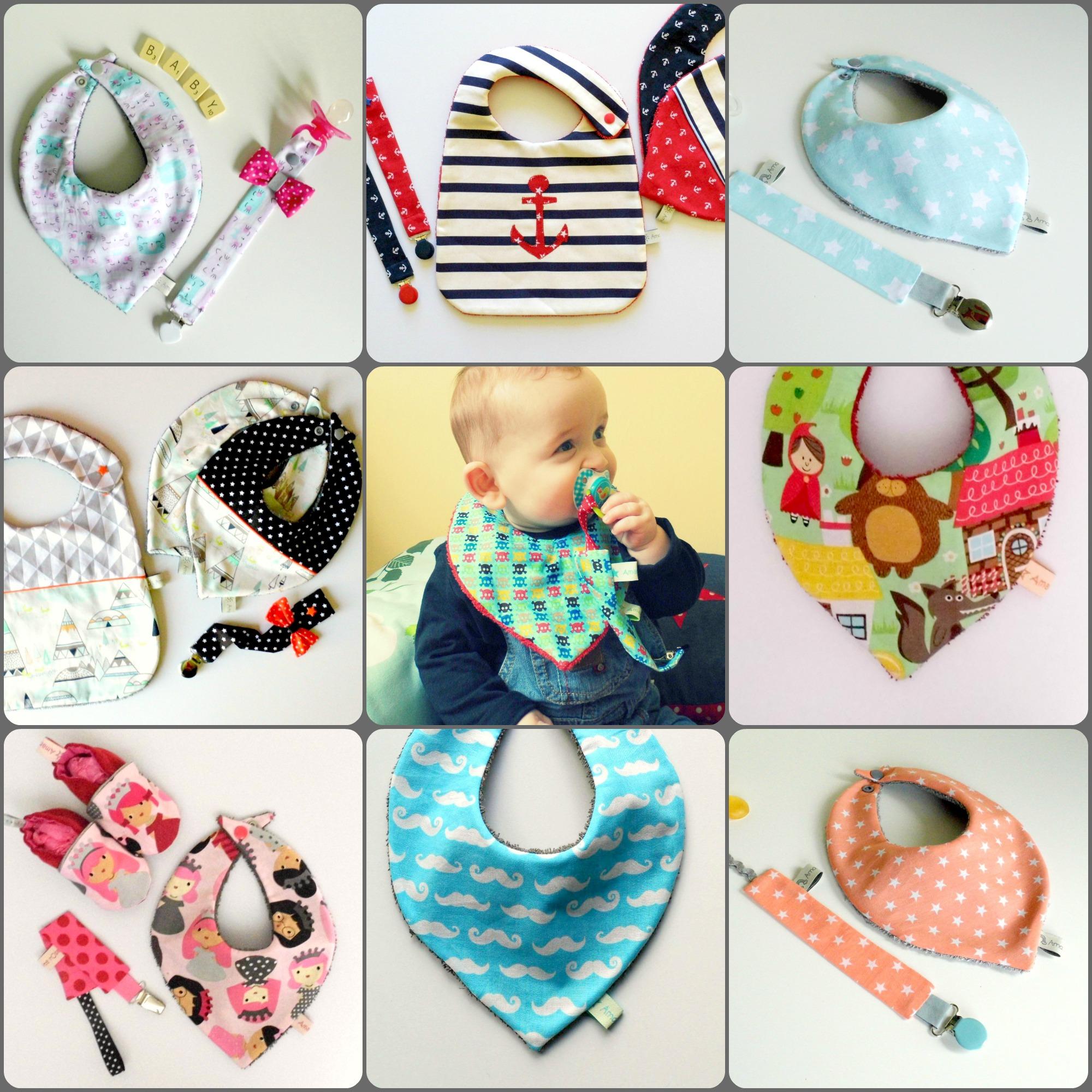 b8e0f62cf4c Bavoir bandana personnalisable couleurs et motifs bébé fille garçon