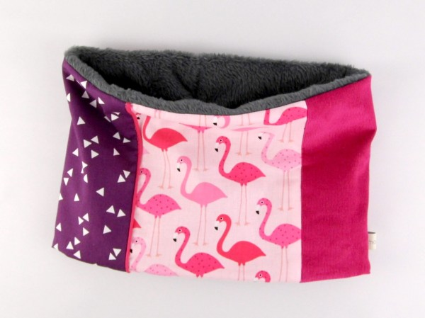 cache-cou-snood-fille-personnalise-rose-violet-flamants-roses