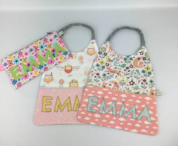bavoir-maternelle-personnalise-prenom-emma-rose-poudre-vert-menthe-serviette-table-enfant-renard-hibou