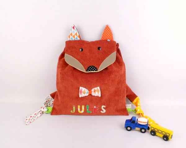 sac-enfant-renard-personnalise-prenom-jules-orange-arc-en-ciel-sac-creche-ecole-maternelle-cadeau-enfant-3-ans-preschool-backpack-fox-personalized-name-baby