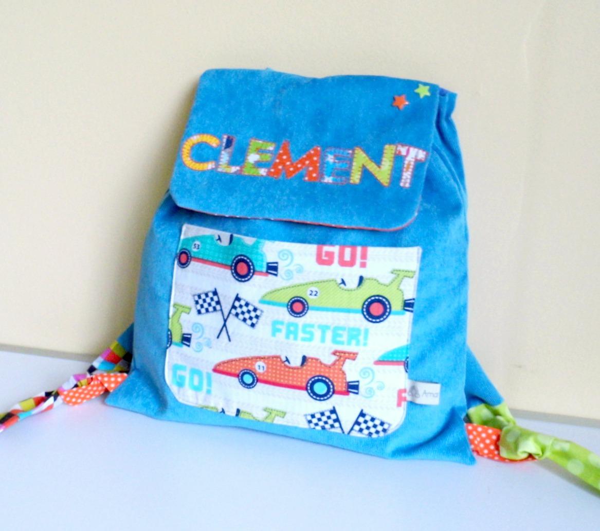 sac dos pour l 39 cole maternelle personnalisable pr nom gar on voiture. Black Bedroom Furniture Sets. Home Design Ideas