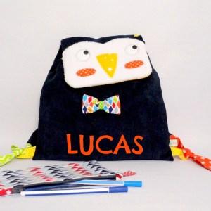 Sac maternelle pingouin personnalisable avec le prénom