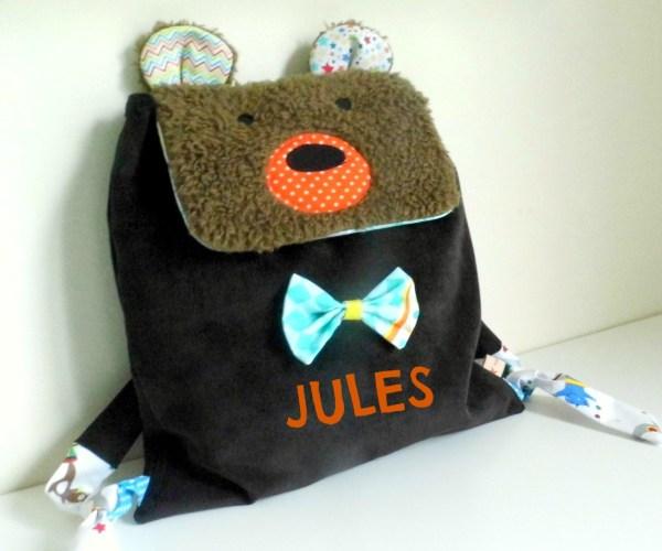 Sac à dos maternelle crèche Ours personnalisé prénom Jules