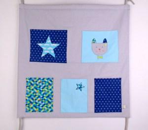 deco-chambre-bebe-liste-de-naissance-personnalisee-theme-etoiles-moustaches-chat-gris-bleu-turquoise-marine-cadeau-naissance