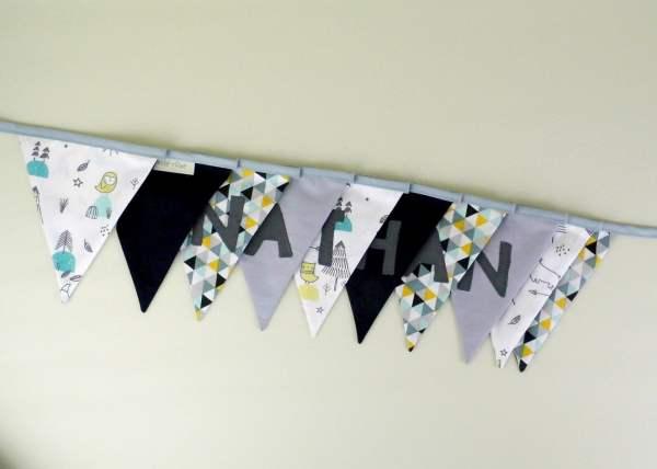 banderole-decoration-chambre-bebeèpersonnalisee-prenom-nathan-vert-menthe-gris-jaune-moutarde-guirlande-personnalisable