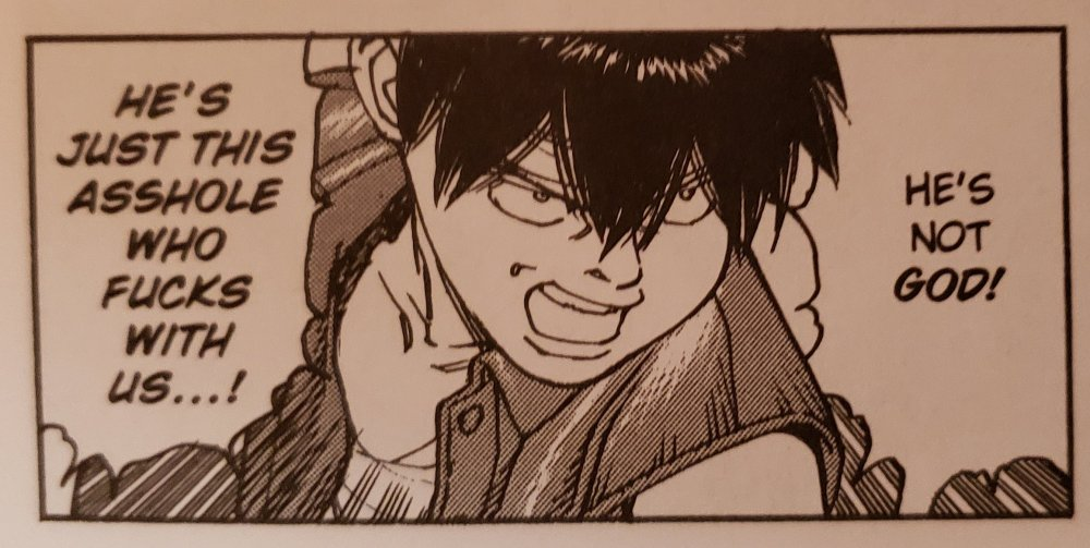 """Panel from Opus, """"he's not god"""""""
