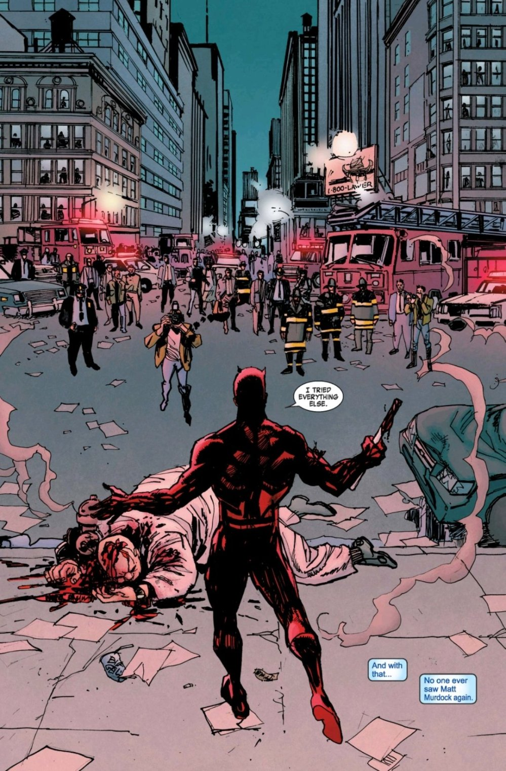 Daredevil after murdering Kingpin in the streets