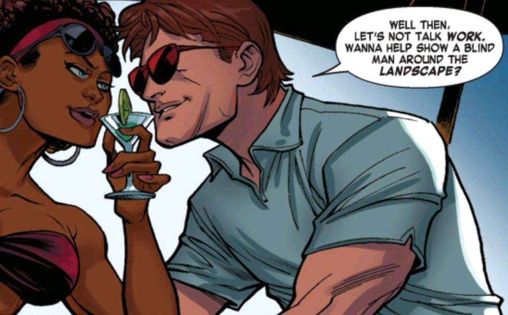 Misty Knight and Matt Murdock flirting uncomfortably