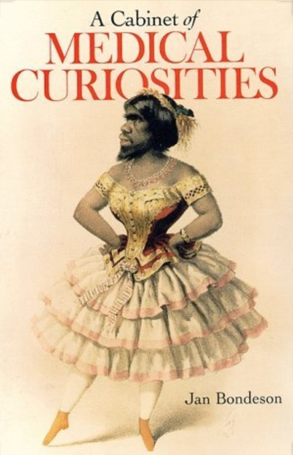 a cabinet of medical curiosities book cover, bearded lady in a pretty dress