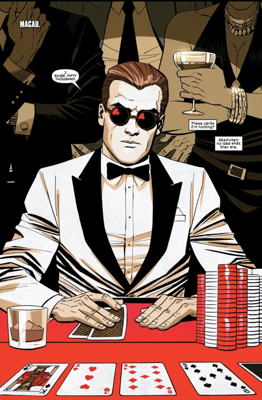 Matt Murdock in a white tux at a casino table