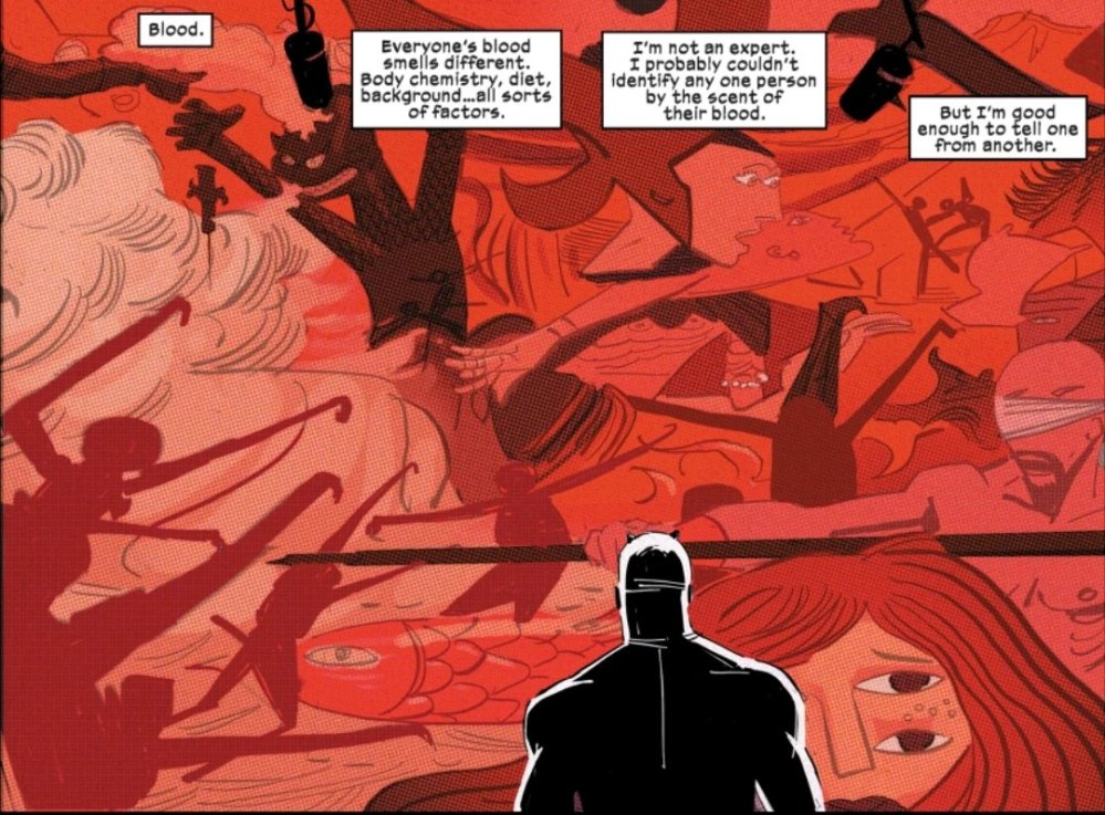 Daredevil in front of a blood mural
