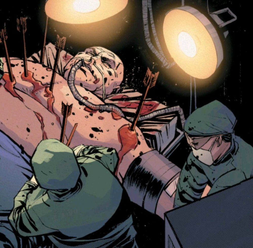 Wilson Fisk on the operating table full of arrows.