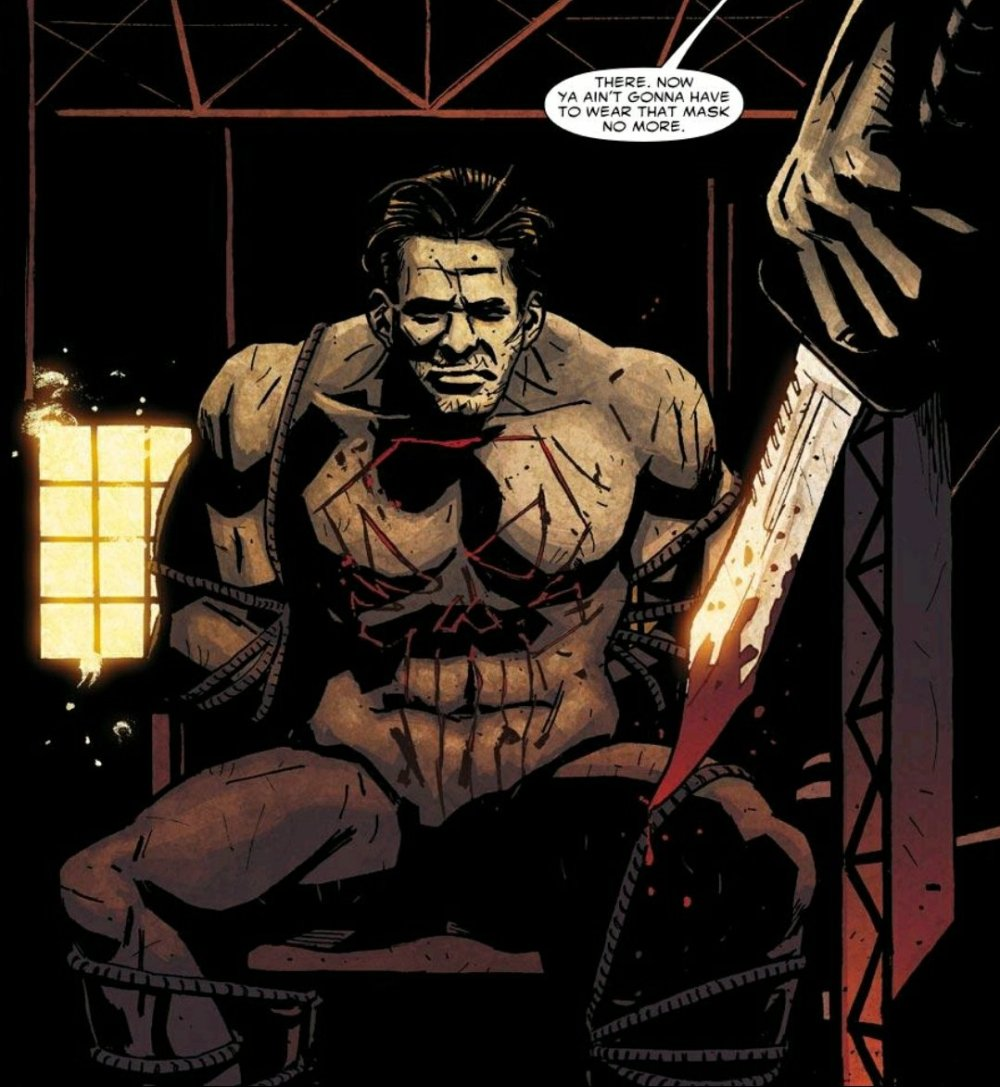 punisher getting skull carved into his chest