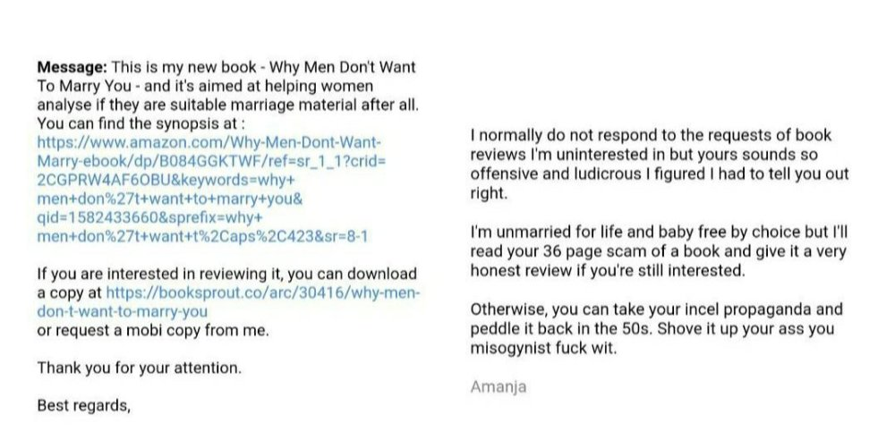 email from a misogynist and amanja's response calling him an incel fuck wit.