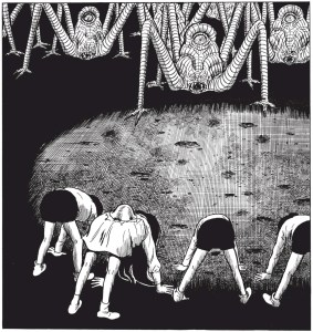 children evolving into one eyed monsters in the drifting classroom
