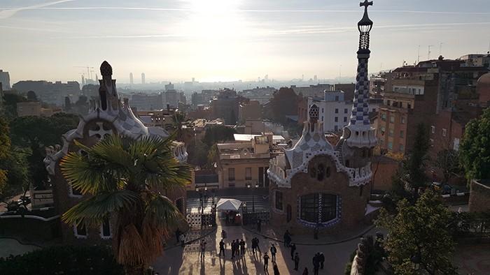 Park Güell, la vue sur Barcelone depuis l'esplanade