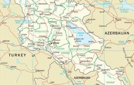 Mapa da Arménia