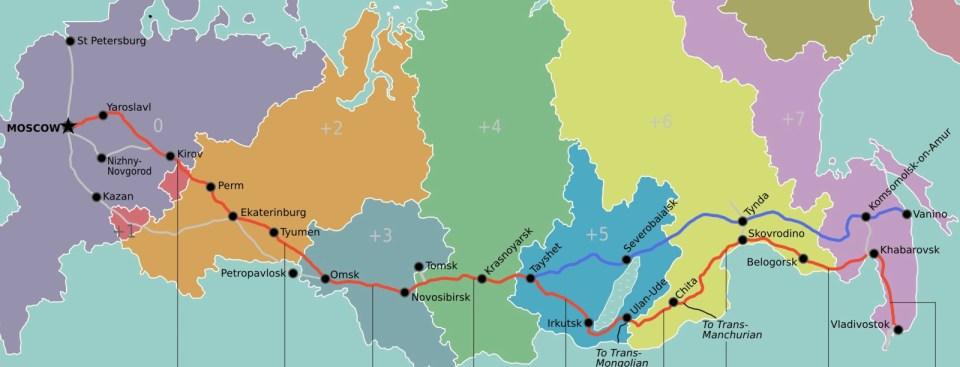 Mapa do caminho-de-ferro Transiberiano