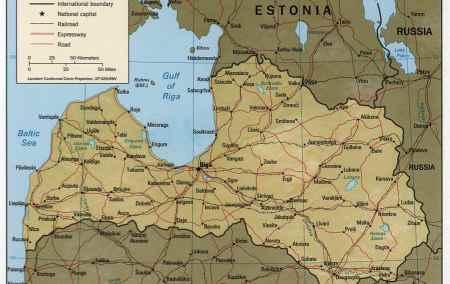 Mapa da Letónia