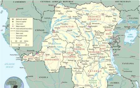 Mapa da República Democrática do Congo